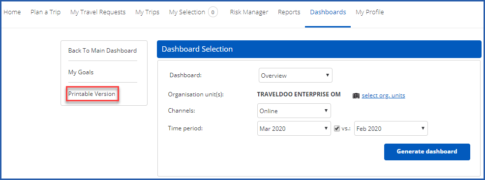 Image of Dashboards tab with Printable Version option highlighted