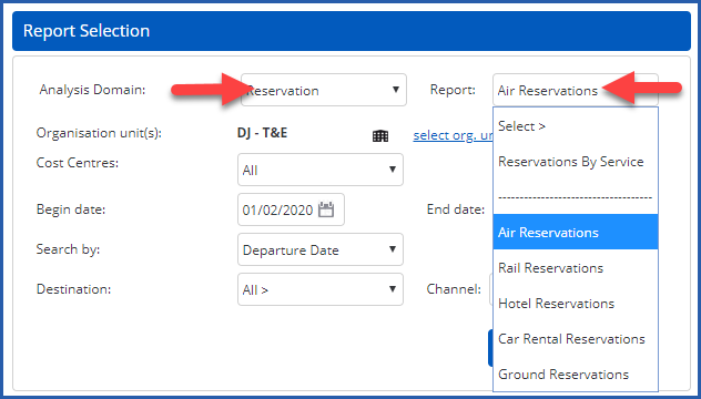 Image of Report header section with Analysis Domain and Report fields highlighted