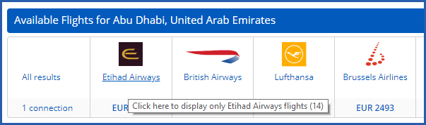 Image of air search results with option to display flights from a single supplier