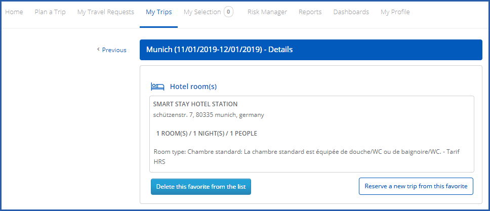 Image of My trips tab showing favourite trip with option to book a new trip from this one