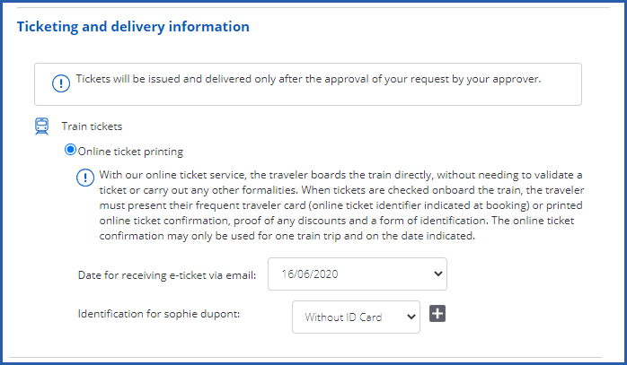 Image of ticketing and delivery information for a train journey