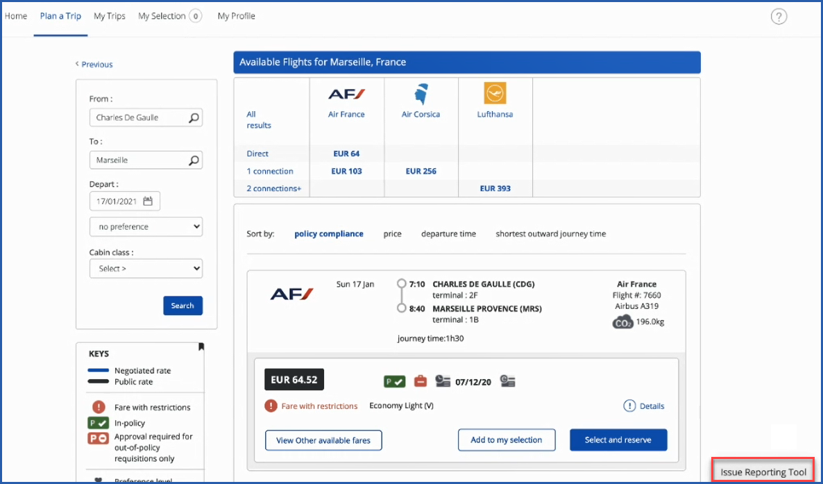 Image of travel screen with link to Issue Reporting Tool at bottom right