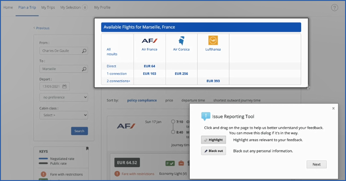 Image of reporting options with area of travel screen highlighted