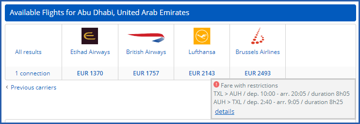 Image of air search results with tooltip showing best schedule for a fare