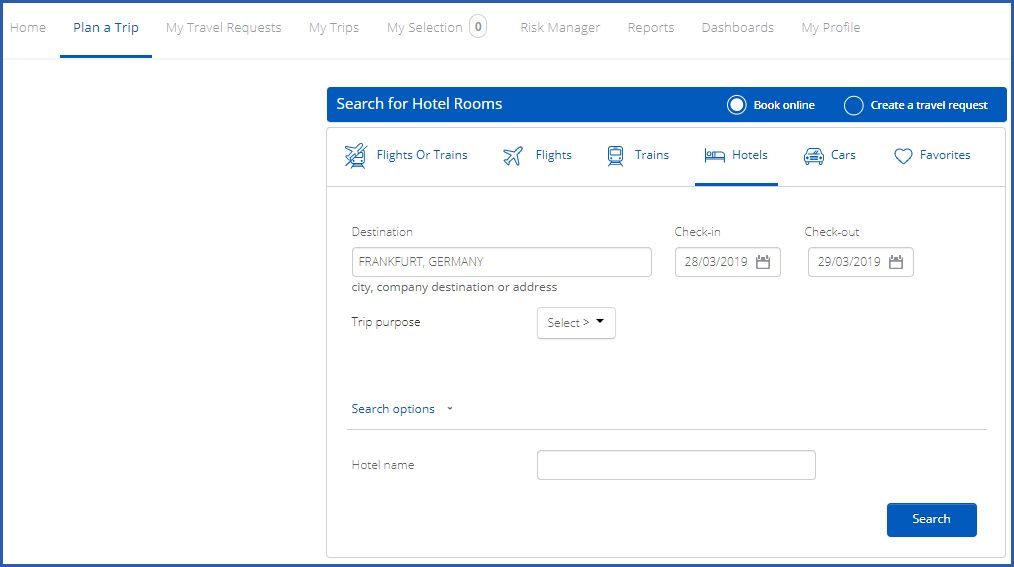 Image of Plan a Trip tab showing options for hotel search