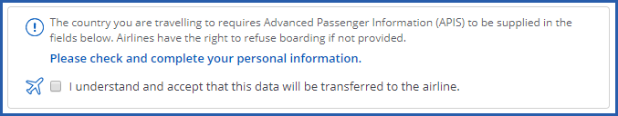 Image of notification that traveller needs to supply APIS information for a trip